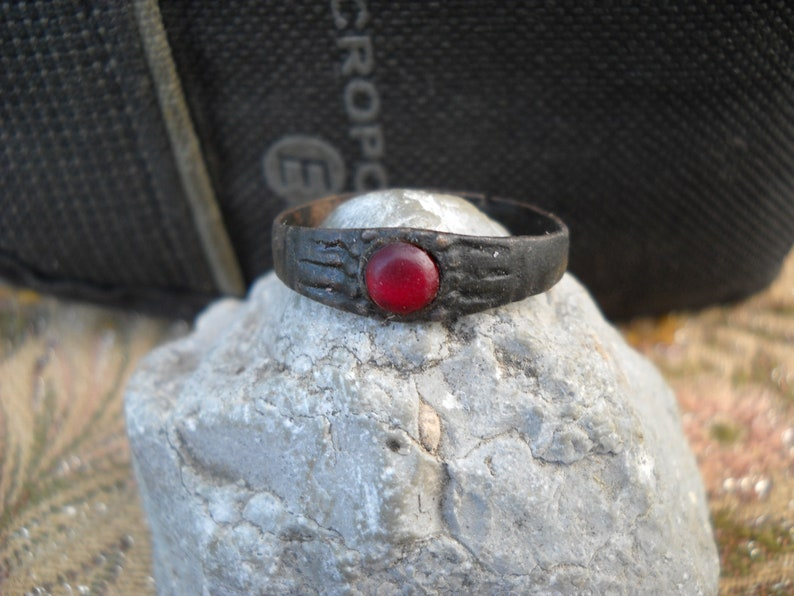 Medieval ring with stone.Elegant patina.16th-17th century.