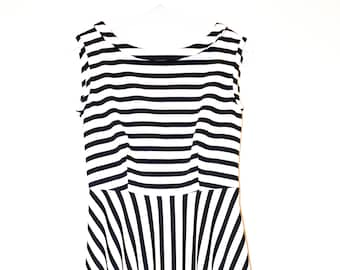 Fifties style dress with white and blue stripes