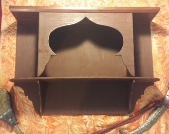"Large Authentic Moroccan Wood Shelf 21""w x 15""h x 4.5"" deep"