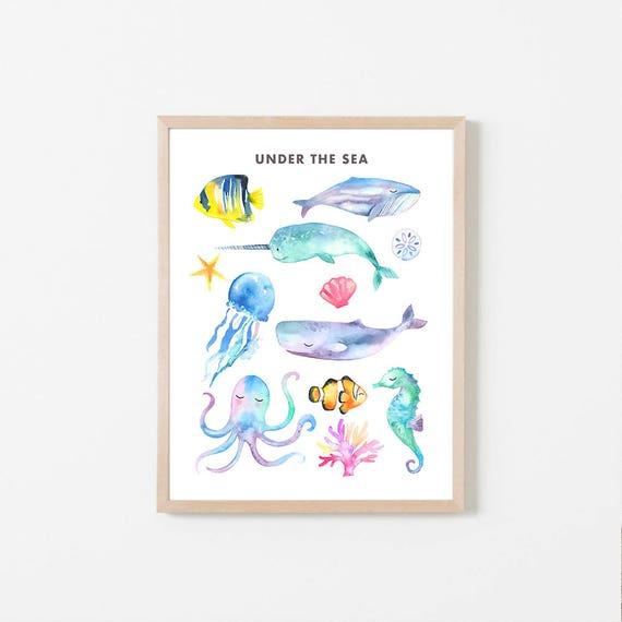 photograph regarding Printable Sea Animals known as PRINTABLE Ocean Pets, Sea Pets, Watercolor Sea Pets, Watercolor Ocean, Whale, Narwhale, Octopus, Seahorse, Ocean Nursery, Fish