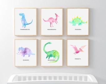 PRINTABLE Dinosaur Print Set, Dinosaur Watercolor Wall Art, Dinosaur Bedroom Art, Dinosaur Nursery, Jurassic, T-Rex Stegosaurus, Triceratops