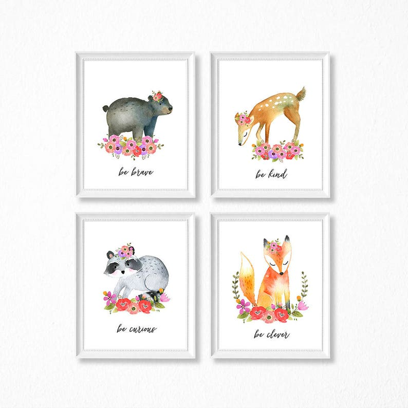 image relating to Printable Woodland Animals called PRINTABLE Floral Woodland Animal Female Nursery Artwork, Female Woodland Nursery Prints, Printable Watercolor Nursery, Woodland Woman, Be Sort Courageous