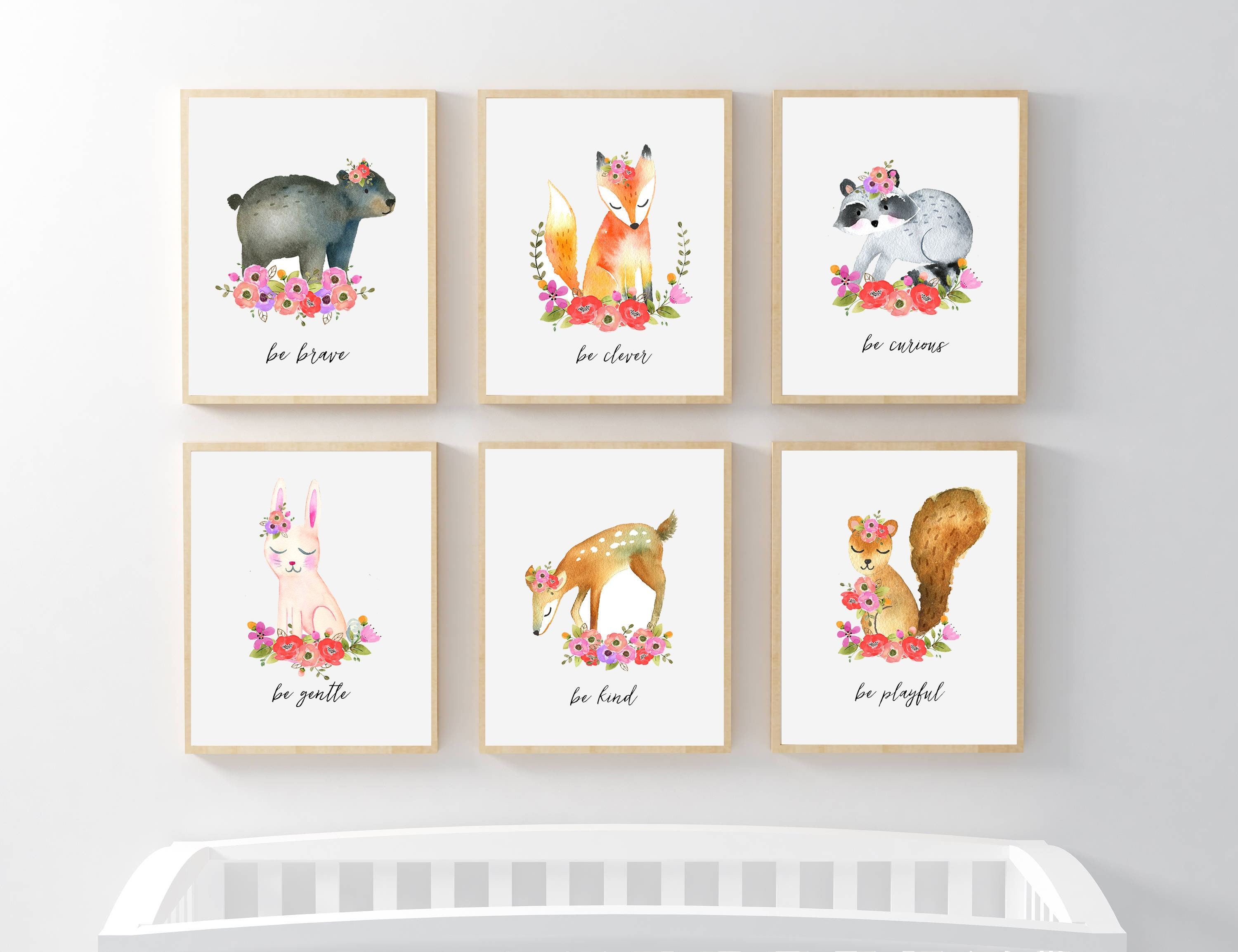 picture relating to Printable Woodland Animals referred to as PRINTABLE Woodland Animal Nursery Artwork, Female Floral Nursery Prints, Floral Woodland Pets Be Type Courageous Smart Curious Intelligent Smooth Playful