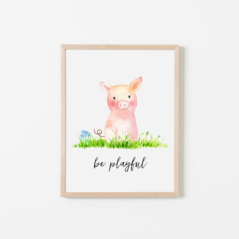 graphic relating to Printable Pig identify PRINTABLE Pig Nursery Artwork Print, Be Playful Pig Artwork Print, Youngster Pig Nursery, Farm Animal Female Boy Nursery Printable, Watercolor Pig Print