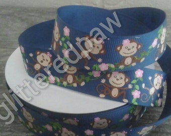 "7/8"" Girl Monkeys on Navy Grosgrain Ribbon"