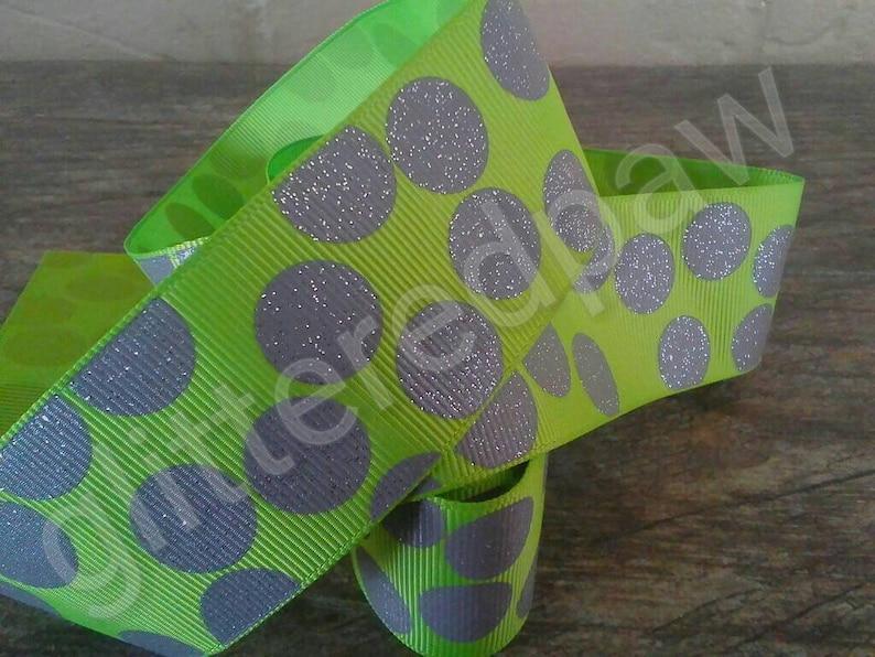 1.5 Grey Glitter Dots on Lime Grosgrain Ribbon