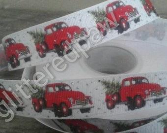 """7/8"""" Christmas Pickup Trucks and Trees on White Grosgrain Ribbon"""