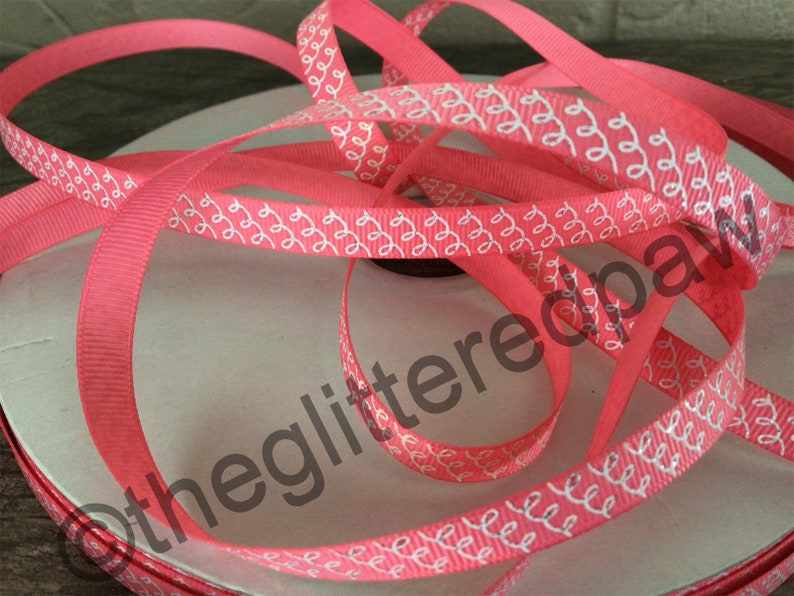 38\u201d White Squiggles on Coral Grosgrain Ribbon