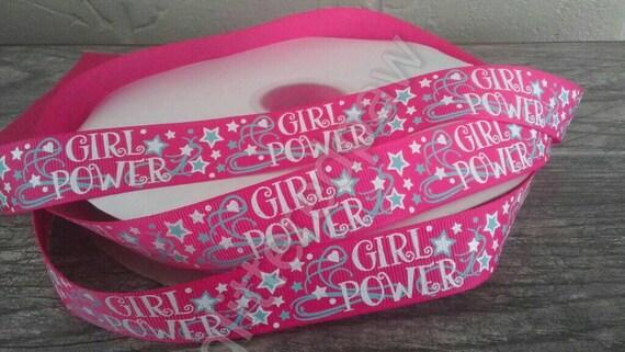 """3 YARDS 7//8/"""" USA Designer GIRL POWER GLITTER Grosgrain ribbon"""