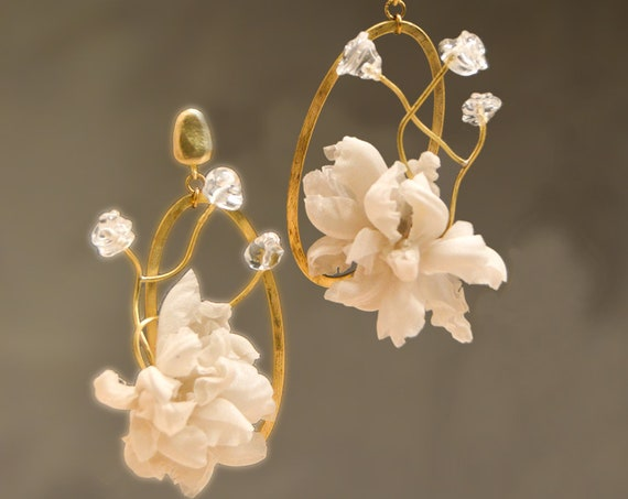Flourist collection bridal silk earrings branch oval