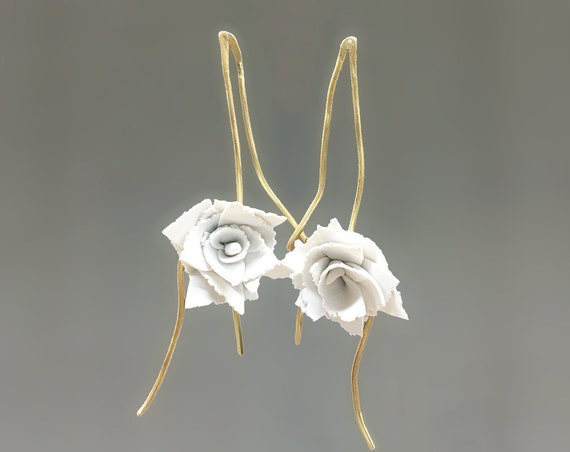 Carnation white clay earrings bridal