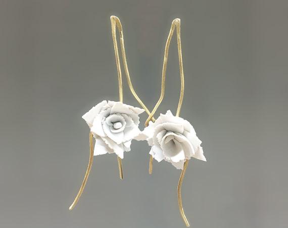 Carnation white clay earrings bridal
