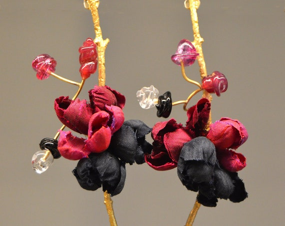 Earrings Branch silk flower Floutist Collection