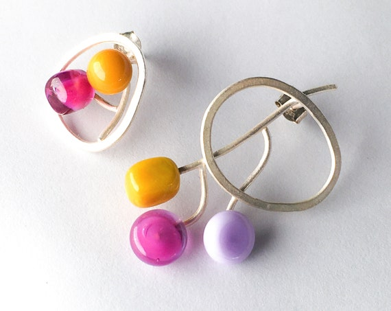 Aeria Murano glass Earrings sterling silver
