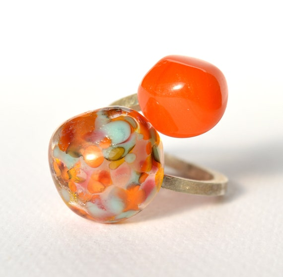 Murano glass lampwork ring Duduos Confetti adjustable