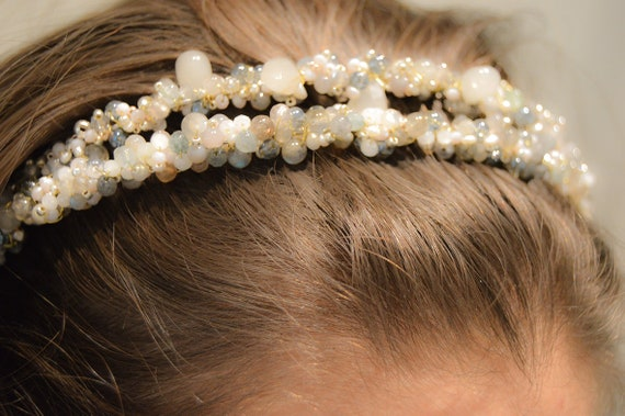Semi precious stones grey bridal headpiece tiara diadem