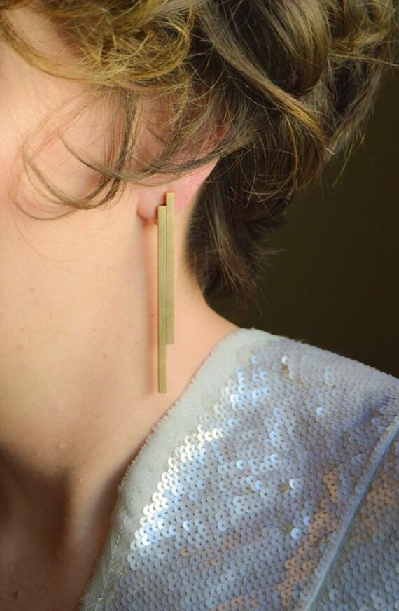 Mayales  double bar stick earrings