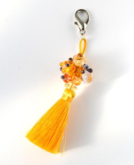 Lampwork Murano glass tassel keychain Limonetta