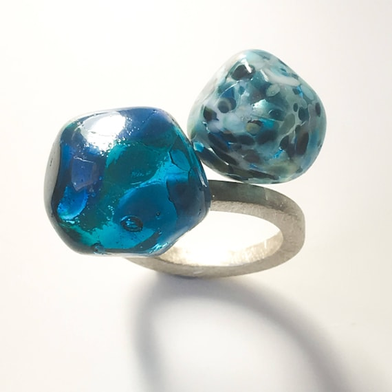 Murano glass lampwork ring Duduos Confetti