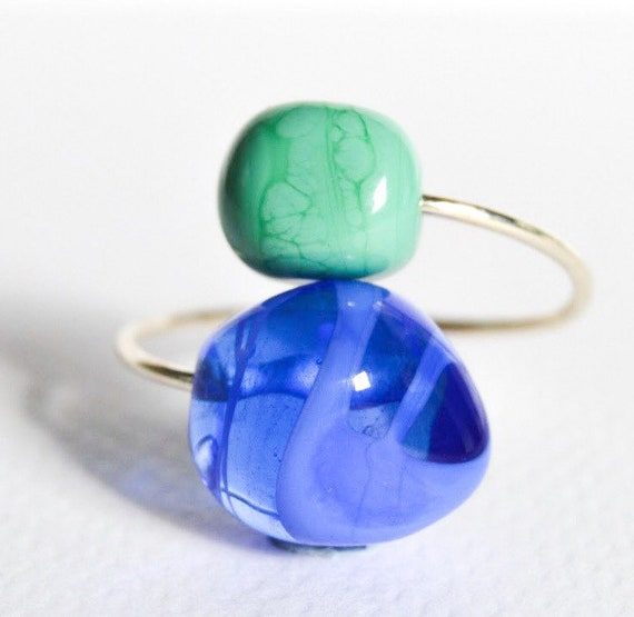 Murano glass lampwork ring adjustable MiniDu