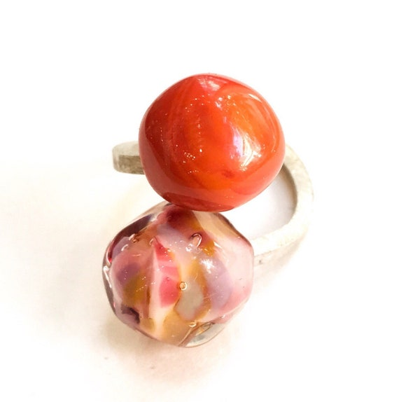 Murano glass ring Duduo Confetti Collection