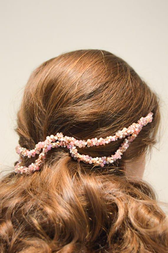 Semi precious stones pink bridal headpiece tiara diadem