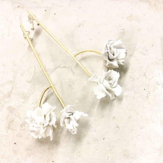 Double Carnation white clay earrings