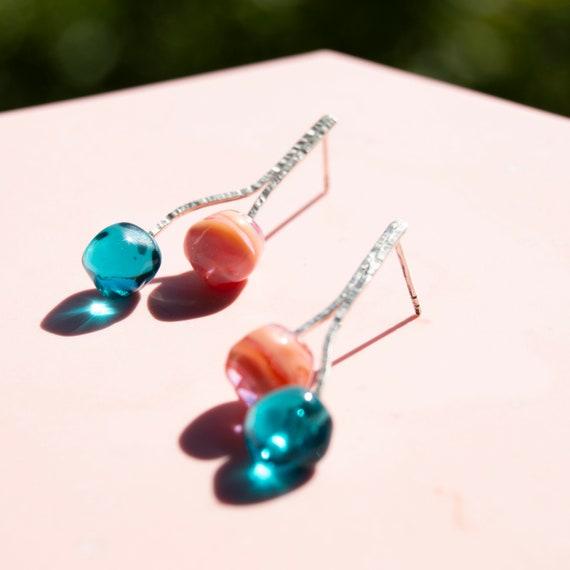 Lampwork glass earrings sterling silver Origen