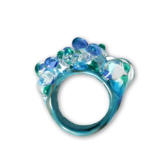 Lampwork Murano glass ring Caicos blue OOAK