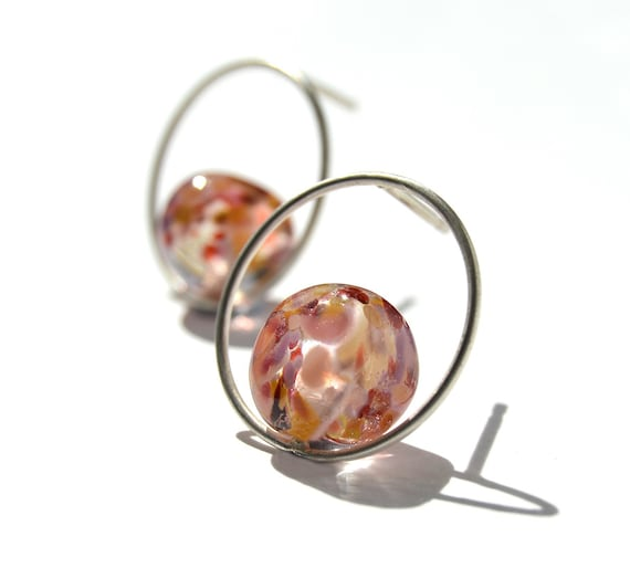 Lampwork glass earrings hoop Confetti