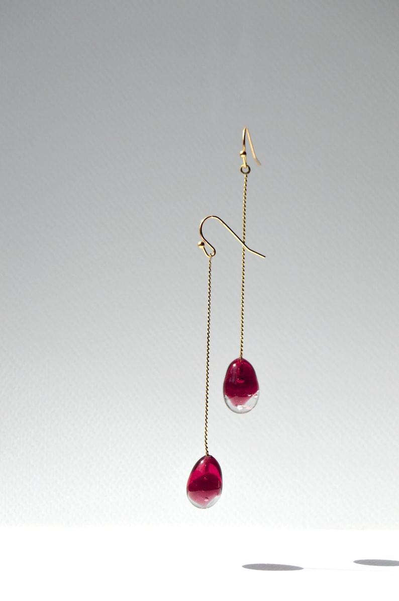 Lampwork glass teardrop earrings chain