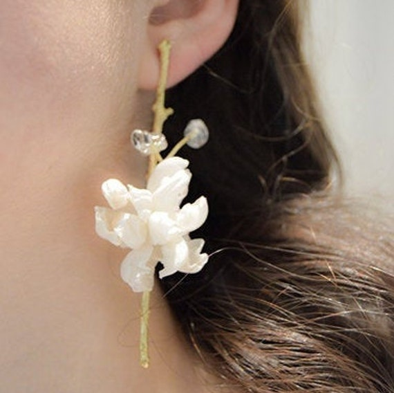 Flourist collection bridal silk earrings branch