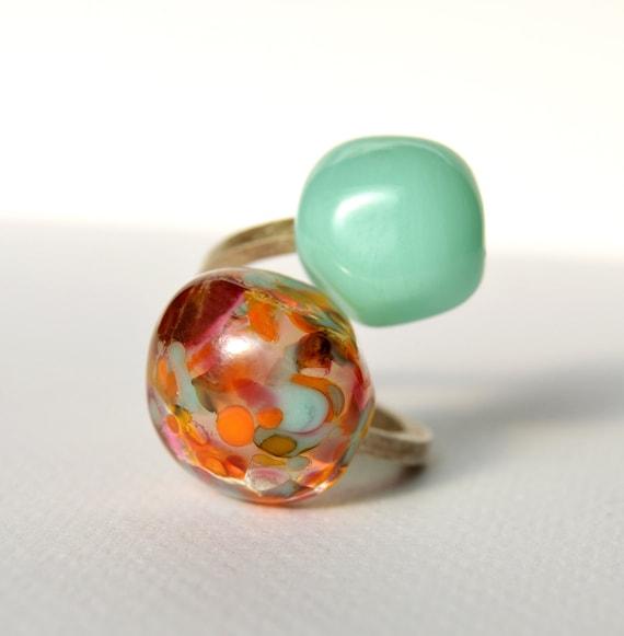 Murano glass lampwork ring Duduos Confetti adjustable