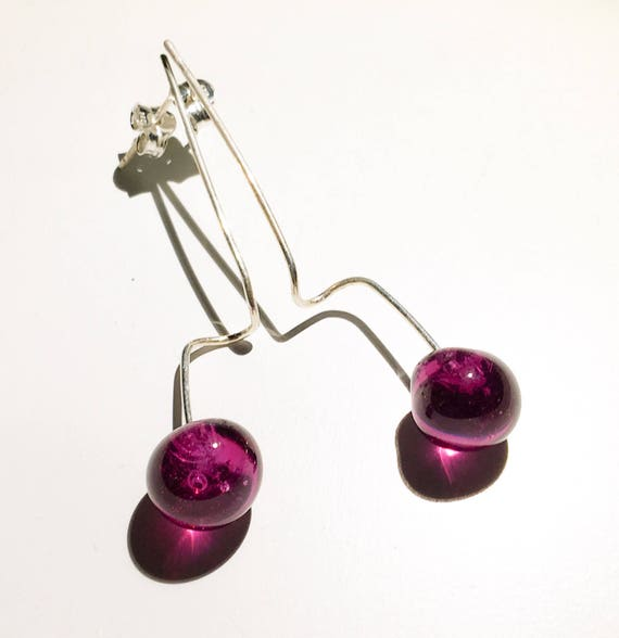 Lampwork Murano glass earrings Bugambilia