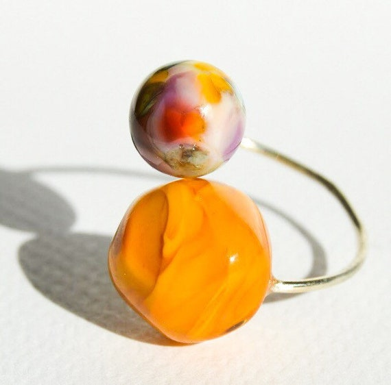 Murano glass lampwork ring adjustable MiniDu