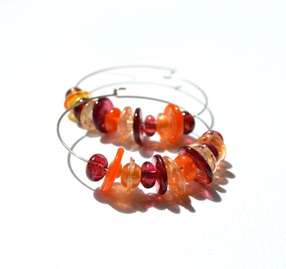 Lampwork glass hoop earrings