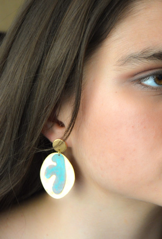 Matisse Brass patina green turquoise earrings