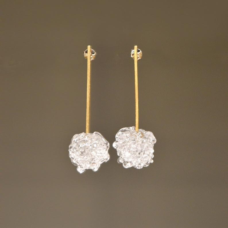 Lampwork Glass earrings crochet image 0