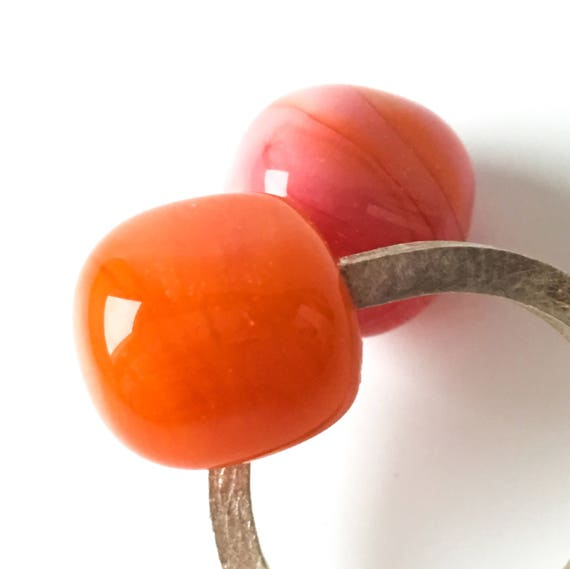 Murano Glass ring Duduos orange coral