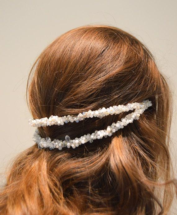 Semi precious stones white bridal headpiece tiara diadem