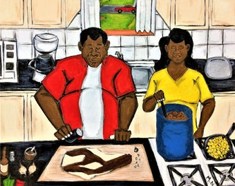 Cooking in the Kitchen, African American Art, Black Artist, Black Art, Black Artist Wall Art, Black Artist Painting, Black Artwork
