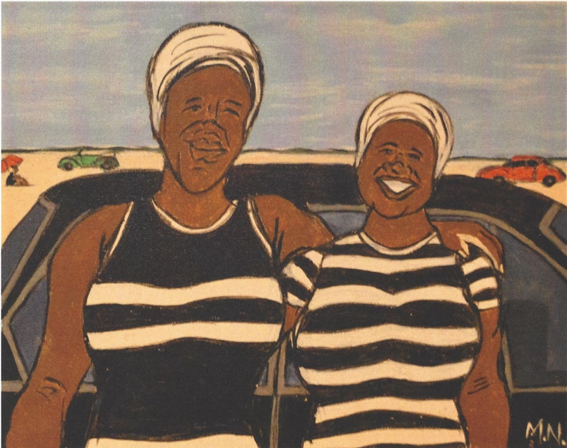 10x8 In Art Print African Mother and Daughter