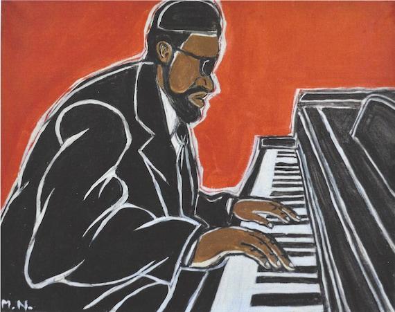 Picture Jazz Piano Black Man Afro Art Canvas Art Cheap Print