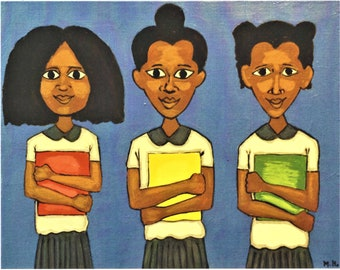 Three Girls Art Print, African American Art, Black Artist, Black Art, Black Artist Wall Art, Black Artist Painting, Black Artwork