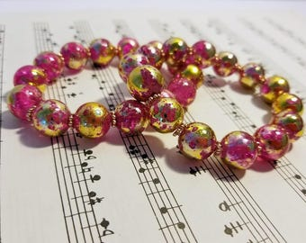 Pink and Gold Speckled Bracelet Pair, Two Bracelets, Matching Bracelets, Pink Glass Beads, Pink and Gold Beads, Cute Bracelets