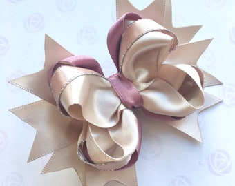 Boutique Bow Hair Clip, Neutral Taupe Champagne