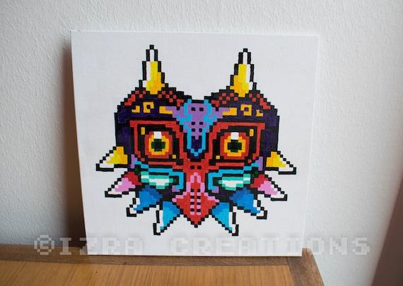 Items Similar To Pixel Art Zelda Majoras Mask Painting On Etsy