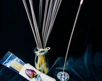 New Item - Hand dipped stick incense: long burning, premium oils soothing aromatherapy, unique scents - 30 sticks plus crone face burner