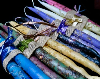 Handmade, witch-crafted beeswax taper candles. Crafted in ritual space with love and intention perfect as gifts, hand fasting rustic decor