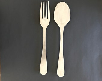 Fork and Spoon Wall Decor, Metal Kitchen Decor, Metal Spoon and Fork, Fork and Spoon Wall Art, Metal Spoon, Metal Fork, Gift for Foodie
